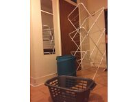 Laundry kit: poof laundry basket, plastic laundry basket and foldable metal drying rack for clothes