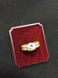 Brand new gold plated white diamanté ladies ring
