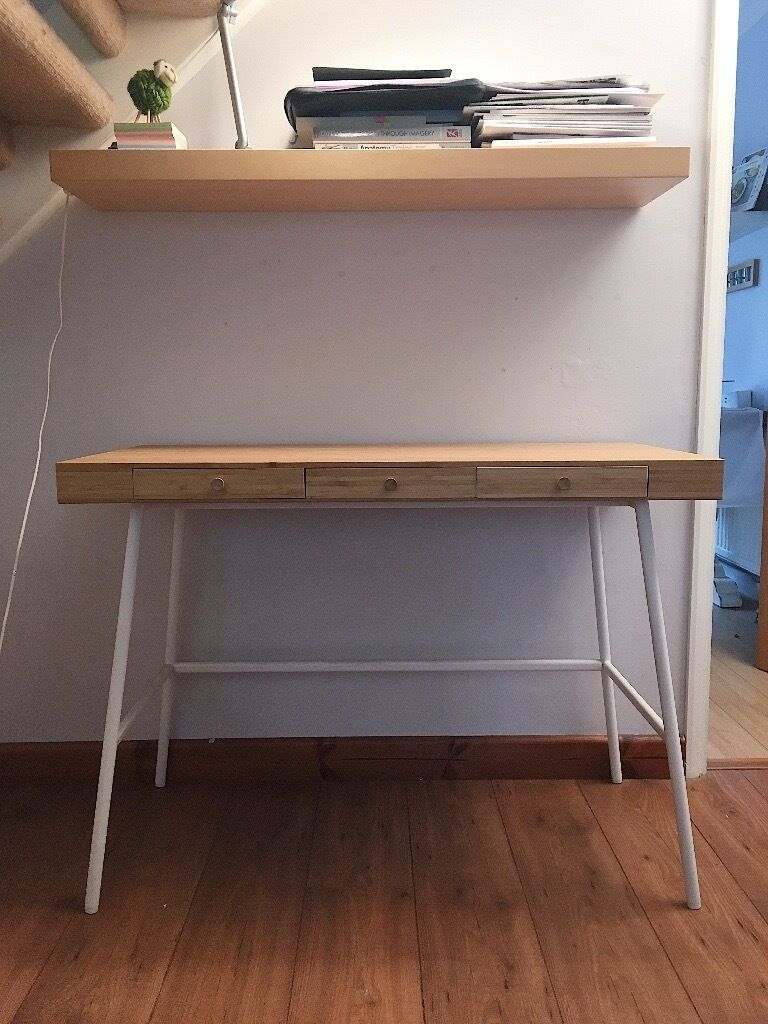 Ikea lillasen home office desk bamboo in norwich for Bureau wenge ikea