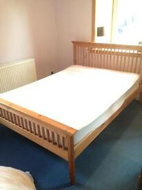 Pine double bed with Silent night mattress