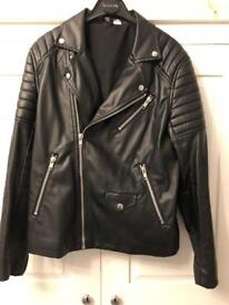 Men's medium H&M faux Leather modern biker jacket