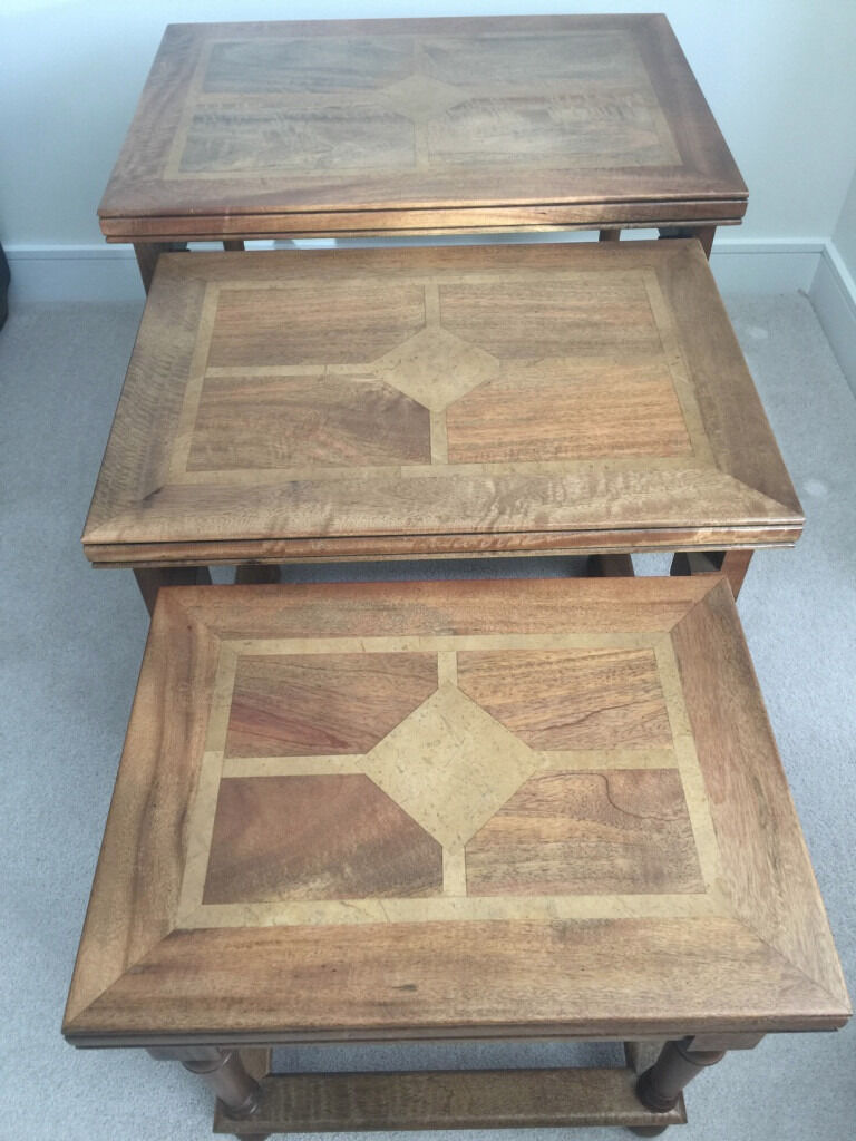 Hand Crafted Flagstone Solid Mangowood Nest Of 3 Tables 70 X