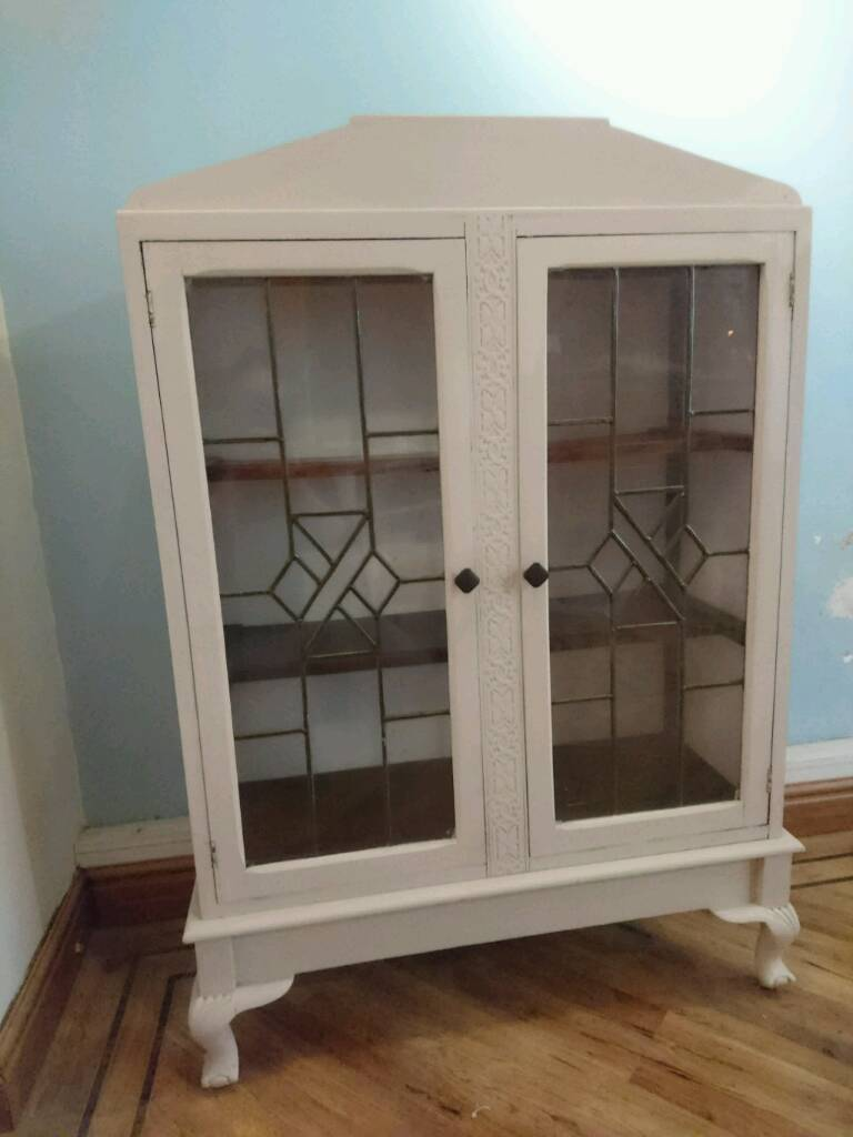 Vintage Shabby Chic Glass Door Cabinet In Tamworth Staffordshire