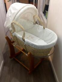 'O Baby' Moses Basket with Rocking Stand, Cover, Hood & Bedding