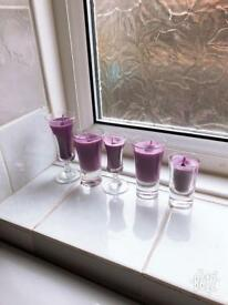 Purple small glass candles