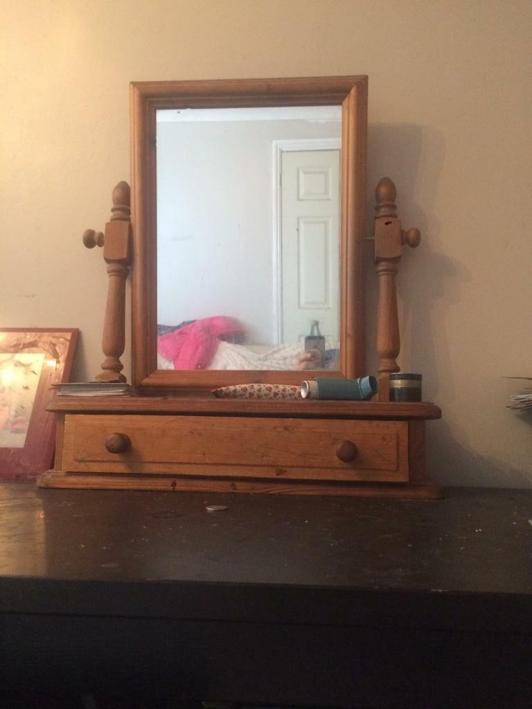 Waxed solid pine mirror