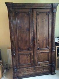 Walnut antique double wardrobe