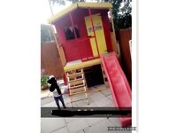 8ft x 6ft wooden Playhouse with 8ft slide