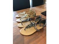 2 pair metallic sandles