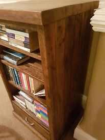 Solid hardwood book shelf unit with drawer