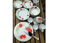 Royal Worcester fine bone china Red and White poppy crockery set