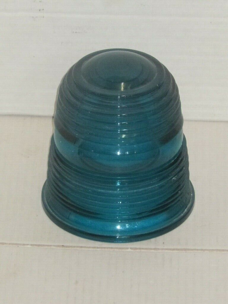 VINTAGE WESTINGHOUSE DEEP BLUE RIBBED GLASS GLOBE POLICE SIREN COVER UNSURE  - $34.99