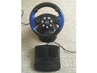 Driving Wheel & Pedals for PS1 PS2 Xbox or Nintendo Gamecube Games - Excellent Condition