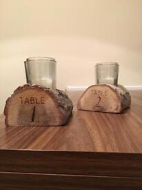 8 Engraved table number wooden log candle holders