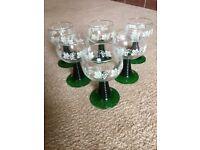 6 Vintage Green Stem Wine Glasses