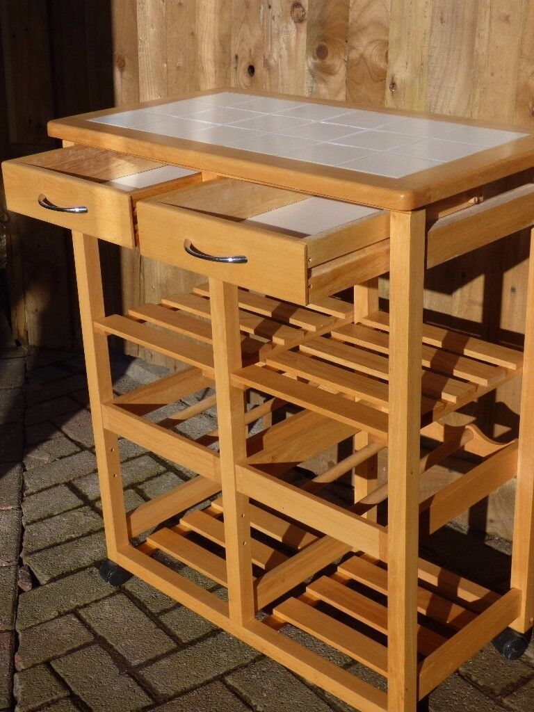 Movable Kitchen Butler with wine-rack and storage