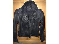 All Saints Size 8 Black Leather Jacket Biker Style
