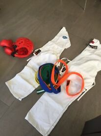 Karate suit x2 with sparing kit and belts