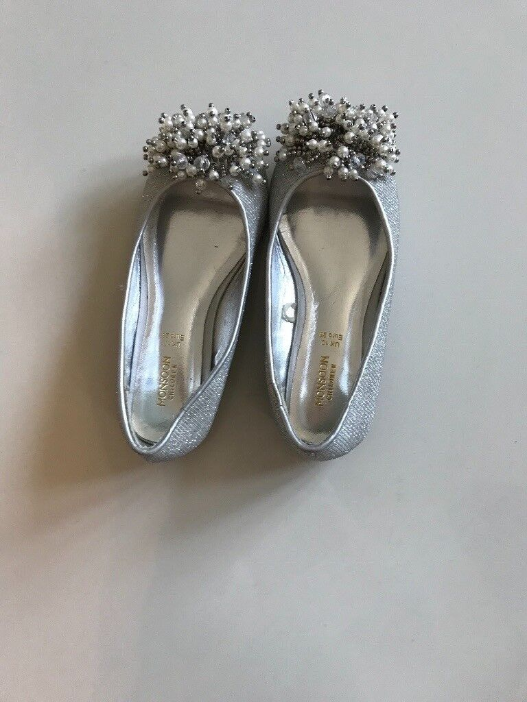 Monsoon silver party shoes size 10 - unworn