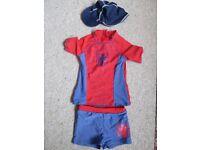 Spiderman swim shorts and UV top, plus swim-hat. Age 3-5