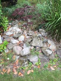 Free-collection only. -Approx 60-70 Rock garden/pool rocks and 50 blue bricks.