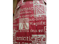 """MADE TO MEASURE CURTAINS - RED TAPESTRY SATIN TYPE MATERIAL GOLD SCRIPT, BUTTON TAB TOP 127""""W X 83""""L"""