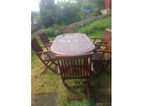 Garden Table and six carver chairs