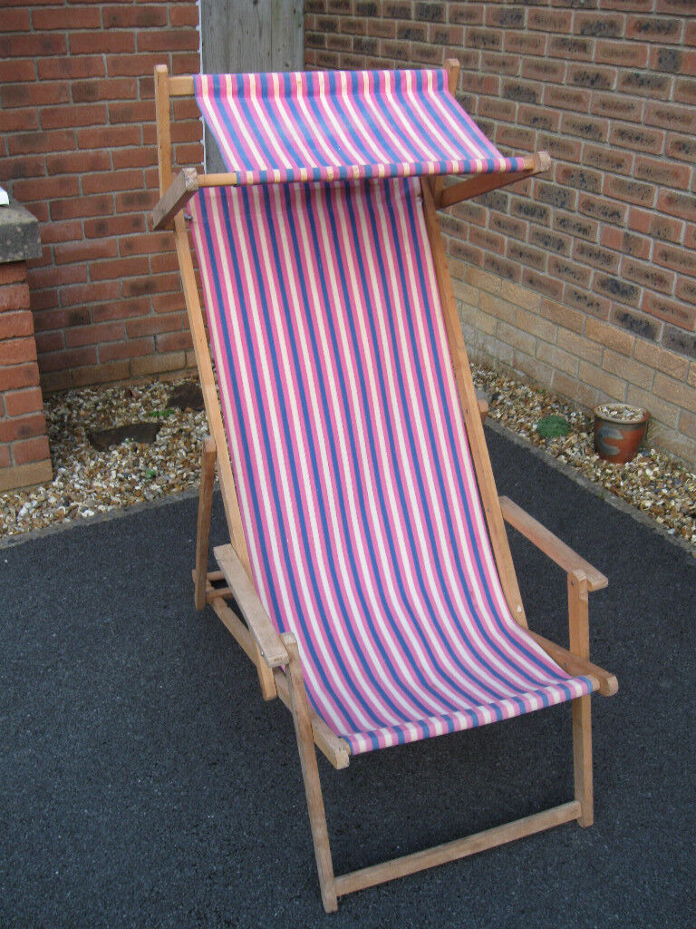Wooden Folding Deck Chair with Arms and Canopy | in ...