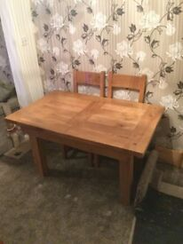Solid Oak Extendable Dining Table and 4 Chairs £350. Excellent condition and hardly used