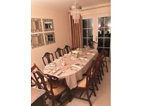 Mahogany Dining Table, 8 Chairs & Sideboard