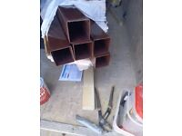 NEW 5 lengths down pipe brown square section 2.500 long