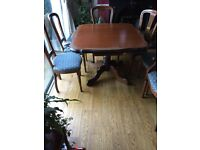 "Rossmore Table and Chairs 2 Carvers and 4 matching Chairs Table : 3'10""x3'5 "" Extended 5'2"" x3.5"""