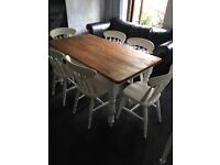 BEAUTIFUL FARMHOUSE STYLE TABLE AND SIX CHAIRS