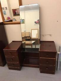 Dark wood dresser and matching gentlemen wardrobe sold together or separately