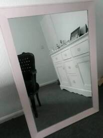 Large Pink chalk painted Shabby chic mirror