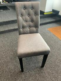 New grey fabric dining chairs