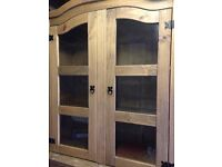 Solid wooden display cabinet, good condition splits into two parts height1.97m width1.04m depth 0.47