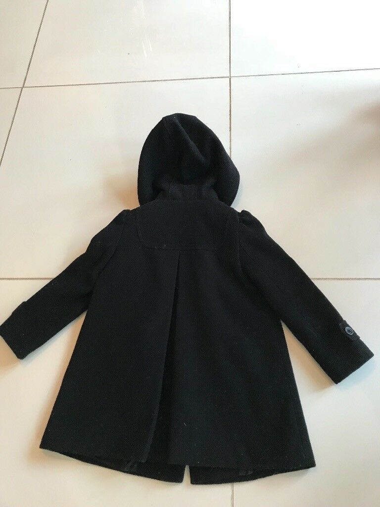 Monsoon girls black wool coat age 5-6 excellent condition