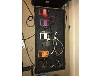 Pedal board and case with loads of pedals