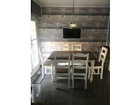 Extendible Dining table and 6 chairs rustic reclaimed timber