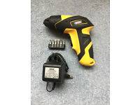Draper cordless screwdriver with charger and bit set. Never used