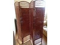 Wicker room divider partition privacy panel