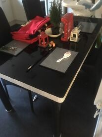 Glass top table and chair set