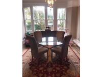 Solid oak and glass dining table with 4 chairs £350