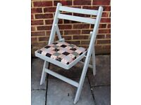 Quaint Shabby Chic Dining/Living/Kitchen Folding Chair Painted in Flint (Grey) or Antique White