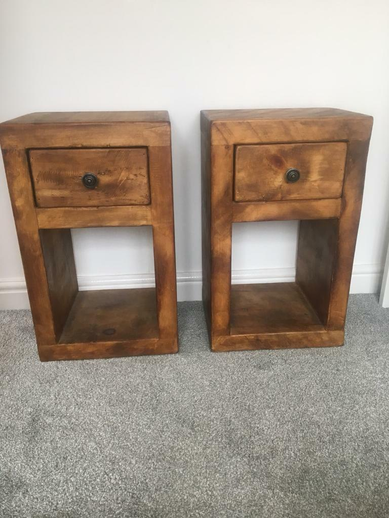 Rustic Wood Bedside Table: 2 X Rustic And Unique Chunky Wooden Bedside Tables