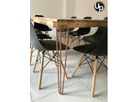 Large Reclaimed Wood Dining Table with Copper Hairpins