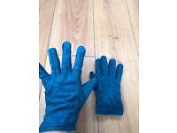 blue suede gloves