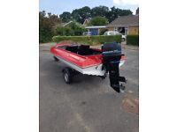 14ft speed boat on trailer with 50hp mercury engine