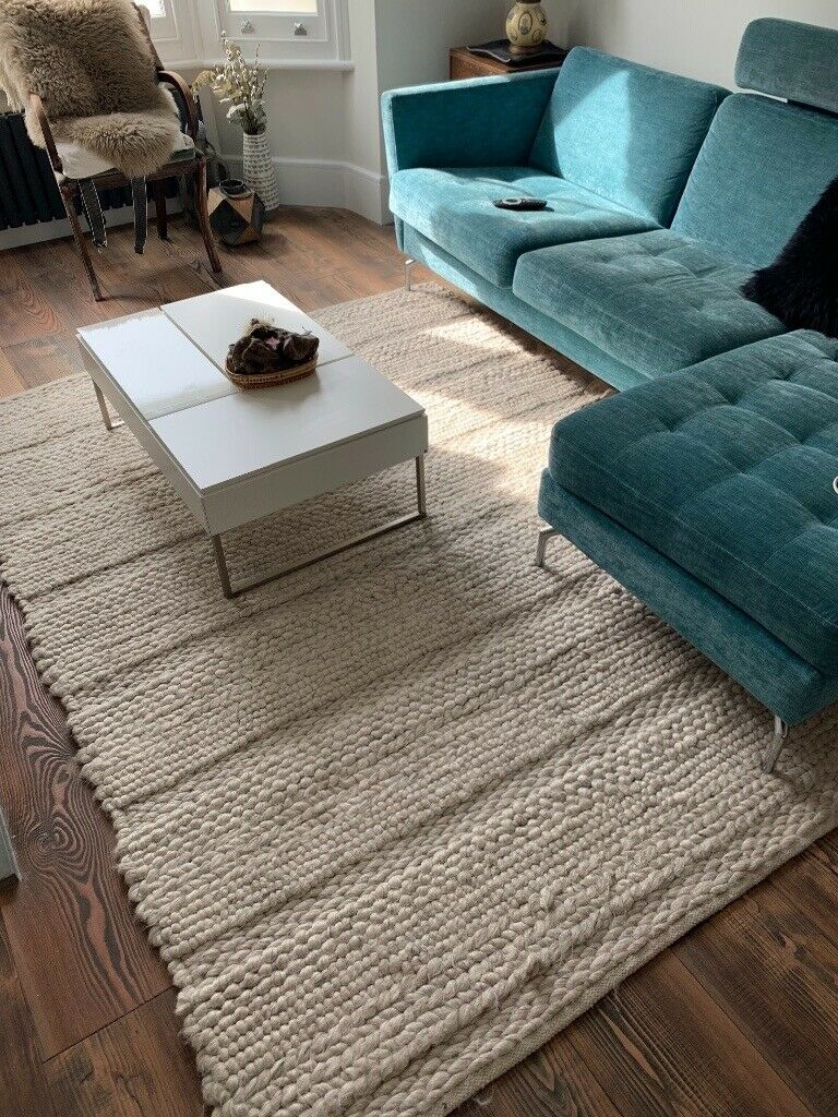 Habitat 100 Percent Wool Good Condition Braid Cream White Rug In Kilburn London Gumtree